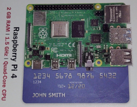 Raspberry Pi4 size compared to a credit card